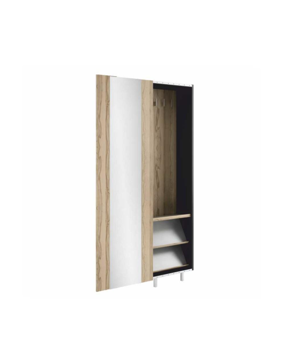Szafa z drzwiami przesuwnymi z lustrem - garderoba i półki na buty STRIP GRAFIKUS